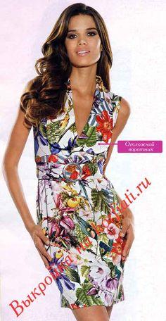 Какое милое платье с воротником! Однако, несмотря на свой большой размер, воротник вовсе не делает платье грубым. А весь секрет- в цветочном принте платья..