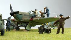 A Battle of Britain Hurricane being prepared for action - Airfix diorama.