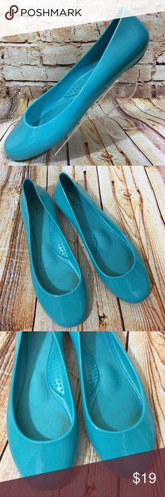 OKAb Blue Rubber Slip On Shoes Jelly Ballet Flats These shoes are in very good, lightly worn condition. Minor scuffs, scratches and marks from wear. Please see pics for more details (: OKA b. Shoes Flats & Loafers