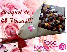 Ramo de 48 delicias fresas cubiertas con chocolate y cereales, un clásico de Rosa Mexicano