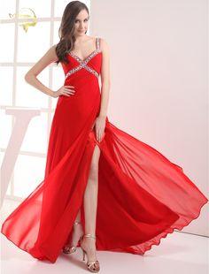 2017 Evening Dress New Fashion Gorgeous Best Design Open Leg V Neck Evening Dress Long Formal Red Pink Evening Dresses HE09219 #Affiliate