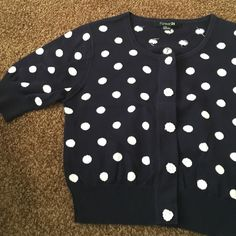 """Forever 21 polka dot Cardi Size M navy and white polka dot cropped Cardi  with crochet detail length measures 18.5"""" and sleeve length measures 11"""" NO TRADES Forever 21 Sweaters Cardigans"""