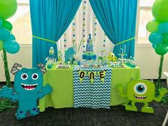 Baby Shower Themes For Gils Animals Birthday Party Ideas 70 New Ideas Little Monster Birthday, Monster 1st Birthdays, Monster Birthday Parties, Monsters Inc Baby Shower, Monster Baby Showers, Boys First Birthday Party Ideas, Baby Boy 1st Birthday, Monster University Birthday, Monster Inc Party