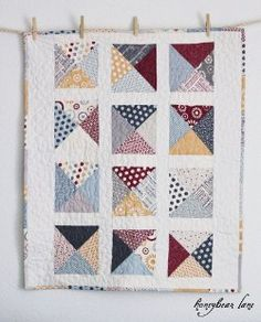 Letters from Home Baby Quilt  Easy way to make 1/4 sq. triangles with 1/2 sq. triangles remaining