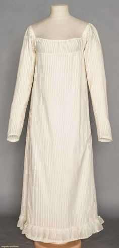 White Cotton Day Dress, 1800-1810, Augusta Auctions, November 11, 2015 NYC