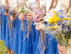 hand tied wild bridesmaid bouquets for wedding