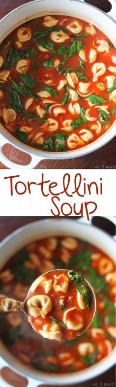 Tortellini Soup - sausage, tomatoes, baby spinach and fresh tortellini. This soup is packed with flavor!