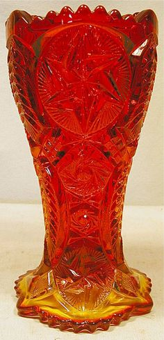 Amberina Cut Glass Vase by Heritage Hnad Made by Smith with Original Label, 9H, Excellent Condition