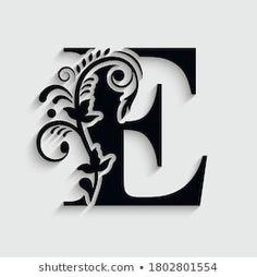 S Letter Images, Letter E, Fancy Letters, Monogram Letters, 3d Street Art, Drop Cap, Flower Ornaments, Quilling Patterns, Book Folding