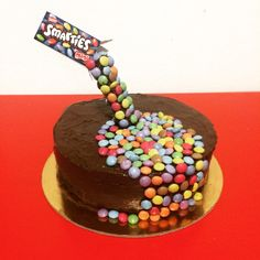 Smarties anti gravity cake