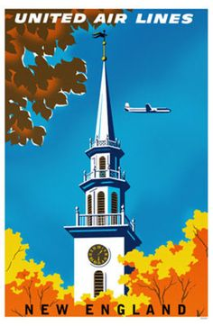 Vintage Travel Poster - USA - New England - Airline