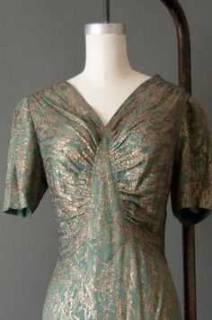 Exceptional RARE Vtg 30s Art Deco Gold Lame Dress Evening Gown Jacket | eBay