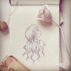 ink filter! #art #illustration #concept #sketch #drawing #pink #rose #girl #hair #swee