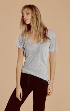 Wildfox Couture Essentials Pocket V-Neck Tee in Heather Jersey