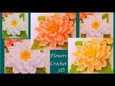 Flores tejidas a Crochet paso a paso en 3D tejido tallermanualperu - YouTube