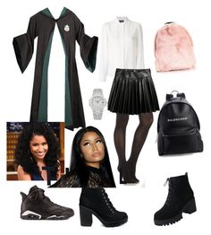 """SLYTHERIN OUTFIT"" by lodowagirl on Polyvore featuring Vanessa Seward, SPANX, H&M, Patek Philippe, Balenciaga and Nicki Minaj"