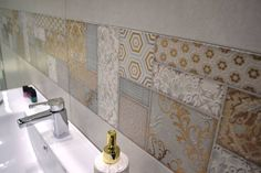 Puzzle, one of Project Moon series' new #decorations that stands out for its exquisite golden and silver palette and its highly #decorative #mosaic graphic.   #ceramics #tiles
