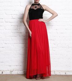 Black & Red Embellished Georgette & Net Dress #indianroots #fusionwear #dress #net #georgette #embellished #summerwear #occasionwear