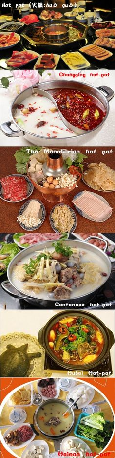 Hot pot (火锅/火鍋: huǒ guō), less commonly Chinese fondue or steamboat, refers to several East Asian varieties of stew, consisting of a simmering metal pot of stock at the center of the dining table.Different kinds of hot pot can be found in Beijing - typically, more modern eateries offer the sectioned bowl with differently flavored broths in each section.