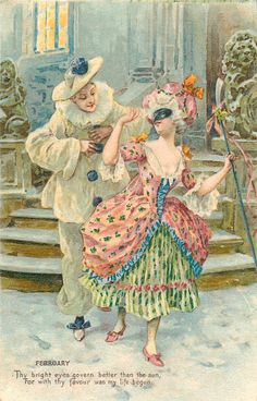 Pierrot and Columbine. Vintage Cards, Vintage Images, Illustrations, Illustration Art, Pierrot Clown, Retro, Vintage Couples, Postcard Art, Vintage Romance