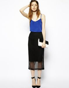 ASOS Pencil Skirt With Mesh Overlay