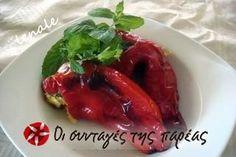 Γεμιστές πιπεριές με φέτα Feta, Stuffed Peppers, Chicken, Vegetables, Cooking, Christmas, Kitchen, Xmas, Veggies