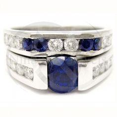 Round Cut Tension Set Blue Sapphire & Diamonds Engagement Ring & Band Wedding Set