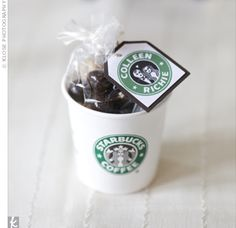 starbucks themed wedding | The local Starbucks provided small coffee cups, which were then filled ...