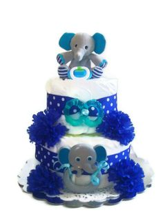 Elephant Diaper Cake for Boy, Blue Elephant Diaper Cake, Boy Elephant Diaper Cake. $45.00, via Etsy.