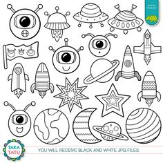 Space Doodles Digital Stamp - Black and White Clipart / Kids Clipart / Alien Clipart / Printable for Kids / Cute Alien / Rocket Clip Art Space Drawings, Mini Drawings, Easy Drawings, Art Drawings Sketches, Doodle Tattoo, Doodle Art, Space Doodles, Graffiti Doodles, Cute Alien