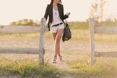 Zara black tuxedo blazer // zara braided belt // zara distressed denim shorts // forever 21 ankle strap heels // charlotte russe purse // sea of pearls la tee // chanel necklace // outfit inspiration