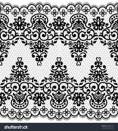 Lace Black Seamless Pattern With Flowers On White Background Stock Vector Illustration 258887909 : Shutterstock