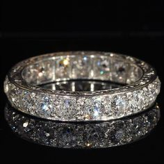 Vintage Art Deco 4ctw Diamond Eternity Band in Platinum, Size 8.25