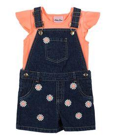 Look what I found on #zulily! Coral Ruffle Tee & Denim Shortalls - Toddler #zulilyfinds