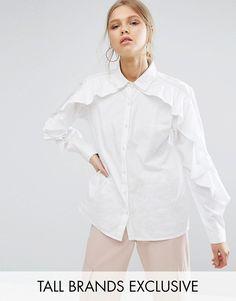 Bargain £17.99 Daisy Street Tall Ruffle Detail Shirt