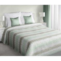 Biele obojstranné pruhované prikrývky na posteľ