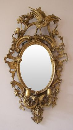 Chippendale Mirror. Carved & Gilt Wood and Mirrored Glass. England. Circa Late 18th to Early 19th Century.
