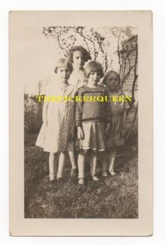 Antique Vintage Photograph~ 4 Young Girls~Group Photo~Trees~Grass~House~Females