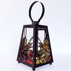 Autumn Leaves Stained Glass Lantern by smashglassworks on Etsy