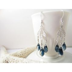 Chandelier Earrings, Swarovski Crystal Earrings, Swarovski Earrings,... ($37) ❤ liked on Polyvore featuring jewelry, earrings, fake earrings, sterling silver jewelry, handcrafted earrings, holiday earrings and wrap earrings
