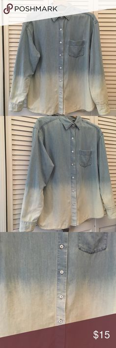 Two Tone Faded Denim Button Down Shirt Super cute two toned/ombre blue denim button down shirt. Very minimal use, practically brand new. Make me an offer! 👕✨ Uniqlo Tops Button Down Shirts