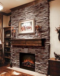 Coronado Stone / Virginia Ledge - Cape Cod Grey - Stone Veneer Fireplace  fireplace ideas for living room