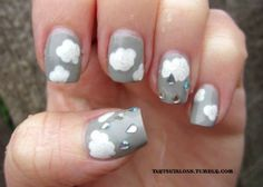 creative nails | cloud, crystal rain drop and grey sky