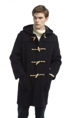 Mens Long Duffle (Wooden Toggles) -- Navy