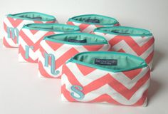 "Bridal Set of Six 7"" Personalized Bags - Mint Aqua & Coral Chevron, Wedding Party Gift, Bridesmaids Cosmetic Clutch Favor"