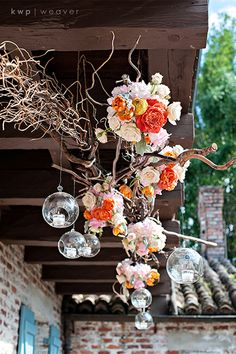 Floral clusters & votive bubbles. (Design by Lee Forrest Design, photo by: KWP Weaver Photography)