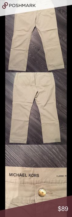 Michael kors classic fit chinos sz 38 30 Light tan (sand) authentic Michael kors cotton chinos. Slightly used No rips or stains. KORS Michael Kors Jeans Straight