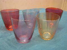 5 x 1950s Shot Glasses – Iridescent Coloured Glass – 5 Diff. Pastel Colours – Vintage German Mid Century Barware Mad Men Style – Schnapps von everglaze auf Etsy