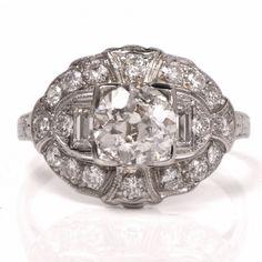 Antique Diamond Engagement Ring Platinum Filigree Item #: 901467