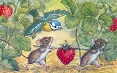 Two mice carry strawberry by Molly Brett.